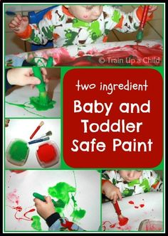 TWO INGREDIENT Baby and Toddler Safe Paint - Super simple recipe for hours of messy, creative fun for little ones!
