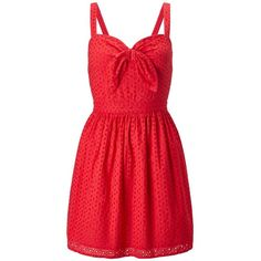 Miss Selfridge Petites Red Tie Front Dress ($68) ❤ liked on Polyvore featuring dresses, petite, red, cotton sundress, petite red dress, red cotton dress, red day dress and cotton sun dresses