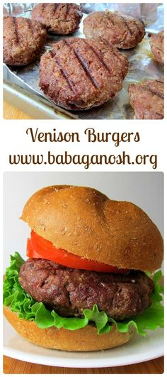 Venison Burgers. Very flavorful and not at all dry! Soo good with a fried egg on top.