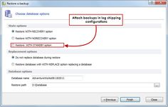 Log shipping support - Speed up log shipping deployment by attaching backups WITH STANDBY