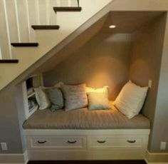 under stairs reading nook. Man my home is gonna be filled with reading nooks all… under stairs reading nook. Space Under Stairs, Under Basement Stairs, Under Staircase Ideas, Cupboard Under The Stairs, Basement Stairway, Closet Under Stairs, Sweet Home, Diy Casa, Cozy Nook