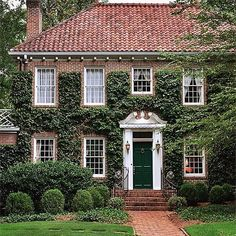 Beautiful curb appeal brick home with green vine . http://kristywicks.com