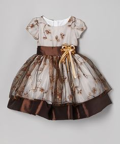 Brown Flower Embroidered Dress.