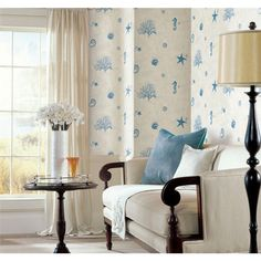 Designer Rooms with Coastal & Nautical Wallpaper Decor Ideas. Featured on Completely Coastal. Sea Life Wall Coverings, Palm Motifs, Nautical Wallpaper Ideas and more. Inspirational Interiors & Shop the Look. Best Living Room Wallpaper, Room Wallpaper Designs, Coastal Wallpaper, Nautical Wallpaper, Wallpaper Decor, Wallpaper Samples, Home Wallpaper, Wallpaper Roll, Designer Wallpaper