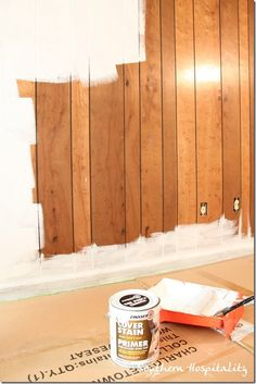 painting wood paneling.... unfortunately we might need this, as most places i have found come with that awful wood paneling! lol