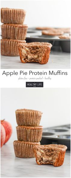 Apple Pie Protein Muffins - A Healthy Life For Me - modified with half coconut flour, 2 TBsp gr flaxseed and 1 cup mashed bananas instead of applesauce.