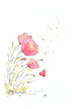 Watercolor Red Poppy Painting. Original Watercolor by MABArtStudio