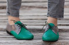 Sale 20% OFF Green Leather Shoes Green Oxford Shoes by BangiShop