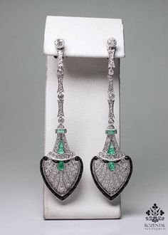 ANTIQUE ART DECO PLATINUM 1.6ctw.DIAMOND- EMERALD & ONYX EARRINGS  $6400