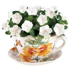9-1/4 in. x 7-1/2 in. White with Yellow Flowers Dolomite Teacup Butterfly Planter, Multi Colored