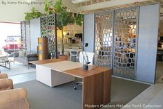 Room dividers painted with Modern Masters Smoke & Olympic Gold Metallic Paint | Kara Paslay Designs