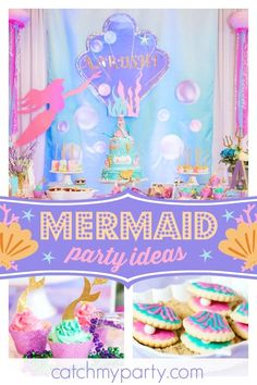 Don't miss this stunning Mermaid themed 1st birthday party! The birthday cake is amazing! See more party ideas and share yours at CatchMyParty.com #catchmyparty #partyideas #mermaidbirthdayparty #underthesea #1stbirthdayparty