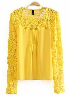 Yellow Contrast Lace Hollow Long Sleeve Blouse