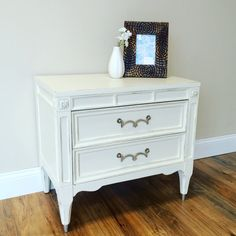 American of Martinsville  White Bedside Table  by VintageHipDecor