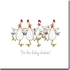 Do The Funky Chicken Greeting Card by TheSkinnyCardCompany on Etsy