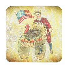 Patriotic Happy Thanksgiving Drink Coasters $30.95 per set of six By  FUJIFILM - #stanrail - A Vintage Patriotic Thanksgiving Image with An American Flag.- Made with high-gloss plastic and a non-skid cork backing, these coasters display your photos and designs with vivid and sharp colors. #Vintage  #AmericanFlag  #Thanksgiving  #Coaster #stanrails_store