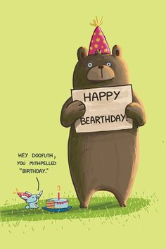 Happy Bearthday Greeting Card, Sebastien Millon