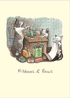 Ribbons & Bows by Anita Jeram Anita Jeram, Children's Book Illustration, Cat Gifts, Cat Art, Cute Drawings, Illustrations Posters, Illustrators, Artwork, Whimsical