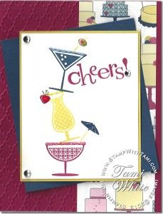 TGIF Stampin' Up! Happy Hour card with fun drinks