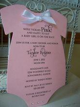 Bridal Shower Invitation The Original Think Pink Baby Girl Themed Baby Shower Invitation - Custom Die Cut 5 x 7 inch