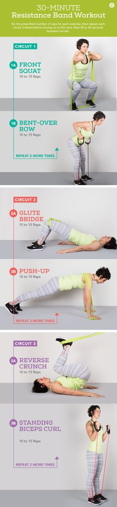 Whether you're in the gym, at home, or on the road, you can squeeze in an effective total-body with these moves #fitness #workout http://greatist.com/fitness/resistance-band-exercises