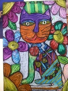 Laurel Burch inspired art project - I love anything Laurel Burch Laurel Burch, 2nd Grade Art, Grade 3, Animal Art Projects, Artist Project, Art Classroom, Art Club, Art Plastique, Teaching Art