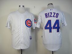 MLB Throwback Jersey Chicago Cubs #44 Anthony Rizzo white pinstripe Jersey