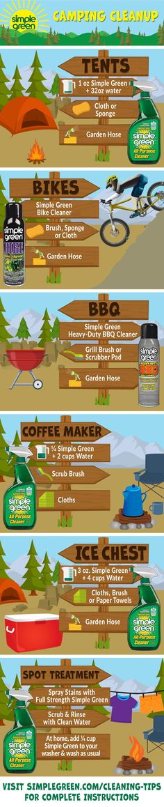 Use these tips during and after your summertime adventures to keep your camping gear in great shape for future trips & keep your impact on nature to a bare minimum. Clean Grill, Clean Up, Simple Green Cleaner, Bbq Grill Cleaner, Green Scrubs, Grill Brush, Spot Treatment, Green Cleaning, Camping Hacks