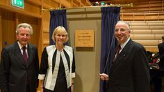 Professor Keith Mander (l), Director of Music, Susan Wanless (centre) and the Hon Jonathan Monckton at the unveiling of the plaque, marking the formal opening of the new Colyer-Fergusson music building.