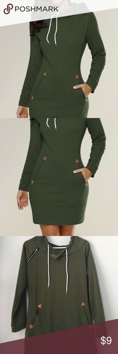 Hooded sweater dress Forest green comfort for fall Dresses Midi
