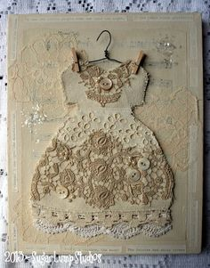 Old Vintage Lace Altered Dress Collage Canvas 8 x 10 inches with vintage embellishments