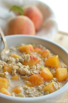 Peaches and Cream No-Cook Oatmeal : Old Fashioned Oats 3/4 Cup Coconut Milk (I use Silk Original Coconutmilk) 1/8 teaspoon Ground Cinnamon 1 Tablespoon Maple Syrup or Brown Sugar 1 Peach - peeled and cubed  Read more at http://wonkywonderful.com/gingerbread-spice-vegan-pancake-recipe/#U60UreYqTLJoQHqp.99 Read more at http://wonkywonderful.com/1/post/2014/07/peaches-cream-no-cook-oatmeal.html#Mj1GXeSJZl0T0PFe.99