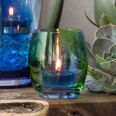 schöner, blau, grüner Teelichthalter Frühlingszauber von PartyLite