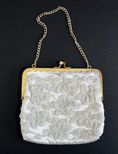 Small Off White Beaded Purse Vintage Evening Bag by RetrofitStyle, $25.00 #vintagebeadedbag