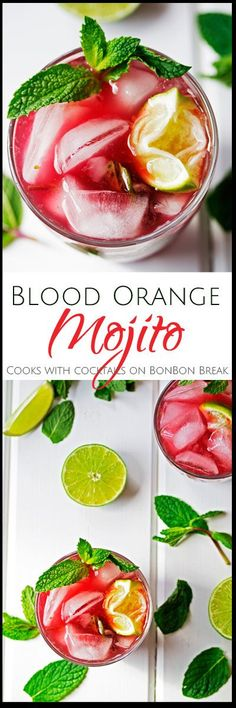 Kick-start your weekend with citrus and fresh mint in these beautiful and tasty Blood Oranges Mojitos! Since blood oranges are so sweet, this recipe doesn't require much sugar!