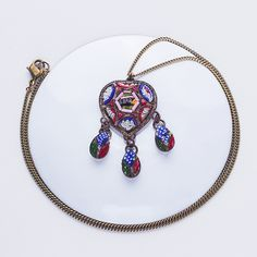 Antique Micro Mosaic Roma Necklace $87