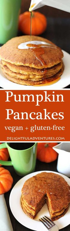 Treat your family to a batch of easy-to-make, fluffy vegan gluten free pumpkin pancakes. They're packed with pumpkin spice flavour everyone will love. via (Lactose Free Desserts Easy) Vegan Foods, Vegan Dishes, Vegan Desserts, Vegan Breakfast Recipes, Vegan Recipes, Cooking Recipes, Healthy Breakfasts, Delicious Recipes, Crepes