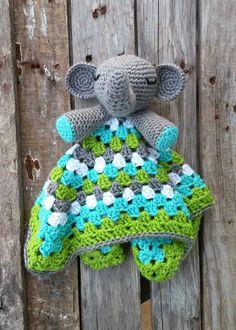 Custom Stuffed Elephant Lovey Toy Crochet Blanket Mini Blanket Photography Prop Pink Grey White Yellow Green Blue Red Purple by TheStorkStitcher on Etsy