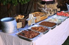 Cowgirl Party- pulled pork, hot dogs, beans, coleslaw, watermelon. Pie tin plates!