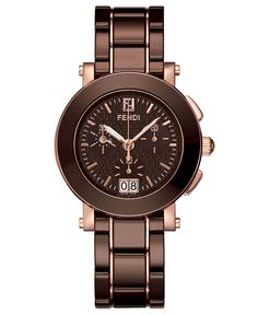 Fendi Watch, Women's Swiss Chronograph Brown Ceramic Bracelet 38mm