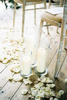 Candles and petals lined aisle: http://www.stylemepretty.com/2015/08/05/chic-black-tie-england-wedding/ | Photography: Taylor Barnes - http://www.taylorbarnesphotography.com/