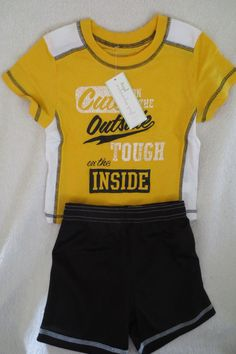 Firsts Impressions  Boy Short Set  2 pieces Size 18 Months New Black & Yellow #FirstImpressions #Everyday