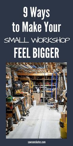 9 Clever Ways to Make Your Small Workshop Feel Bigger No matter if your woodworking shop is in your basement, garage or shed it can sometimes feel crowded and cramped. With some clever small workshop ideas, a space-saving layout, and organization and stor Woodworking Shop Layout, Woodworking For Kids, Easy Woodworking Projects, Woodworking Plans, Wood Projects, Woodworking Techniques, Woodworking Organization, Woodworking Patterns, Popular Woodworking