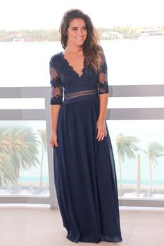 9754a0495b Navy V-Neck Maxi Dress with Mesh Embroidered Sleeves  dressideas   summerdress  summeroutfit