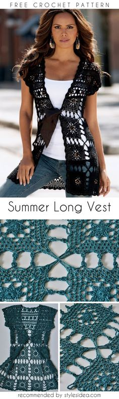 Pretty Long Vest Summer Crochet Tunic [Free Pattern] #crochetfreepatternsforlady #crochetfreepatternforvest #crochetfreepatternfortunic #crochethat #crochetsunhat