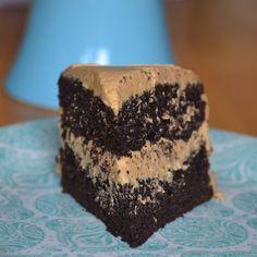 Dark Chocolate Cake w/ Peanut Butter Buttercream Frosting