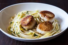 Simple Pasta with Leeks and Scallops recipe on Food52