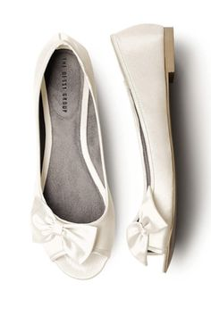 Satin Peep Toe Bridal Ballet Flats by Dessy Collection. £20. These are going to be my wedding shoes. Heels wont be much good when Im walking on grass all day! Some nice sparly shoe clips should sparkle them up a little :)
