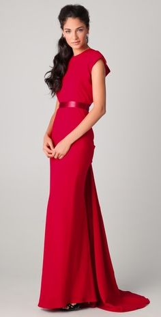 Reem Acra Cap Sleeve Gown with Lace Back Detail. I'M IN LOVE with this gown
