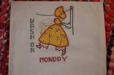 Vintage Embroidered Tea Towel Days of Week Hand by suitablebags